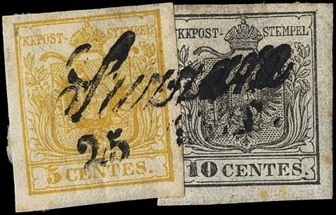 LOMBARDO VENETO 1850 - 5c gial...