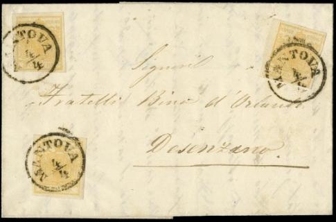 LOMBARDO VENETO 1855 - 5c gial...